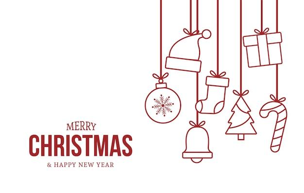 빨간 귀여운 크리스마스 요소와 메리 크리스마스와 행복 한 새 해 카드 무료 벡터
