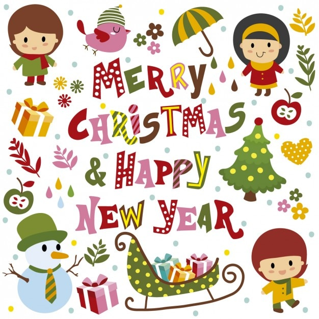 merry christmas and happy new year card free vector