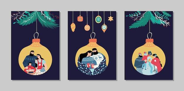 メリークリスマスと新年あけましておめでとうございますカードコレクションセット Premiumベクター