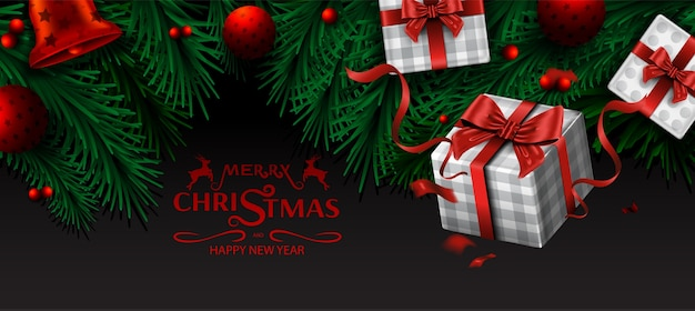 メリークリスマスと新年あけましておめでとうございます、クリスマスツリーの枝と飾りの背景 Premiumベクター