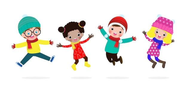 Веселого рождества и счастливого нового года, коллекция детей, прыгающих в зимних костюмах, рождественская вечеринка Premium векторы