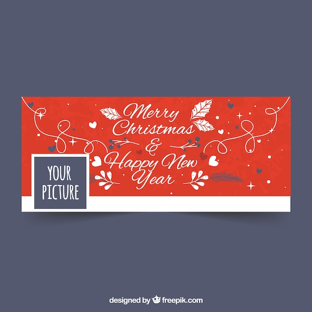 Merry christmas and happy new year for facebook Vector | Free Download