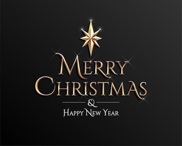 기쁜 성 탄과 새 해 복 많이 받으세요 황금 글자 어두운 배경에 서명. 프리미엄 벡터