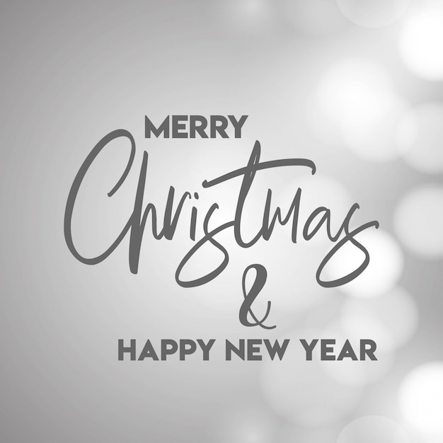 merry christmas and happy new year gray background free vector