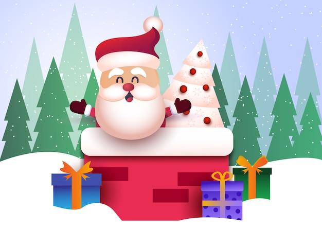 С рождеством и новым годом поздравительный фон с санта-клаусом Premium векторы