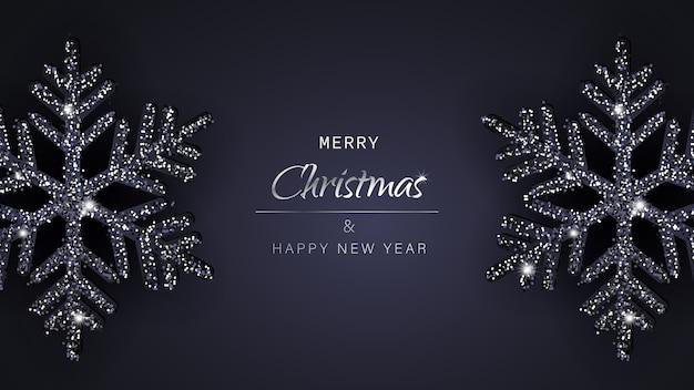 С рождеством и новым годом поздравительный фон со снежинками Premium векторы