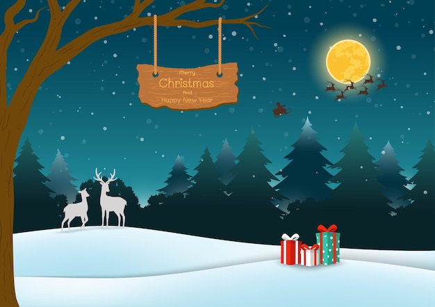 メリークリスマスと新年あけましておめでとうございますグリーティングカード、森の背景の夜のシーン Premiumベクター