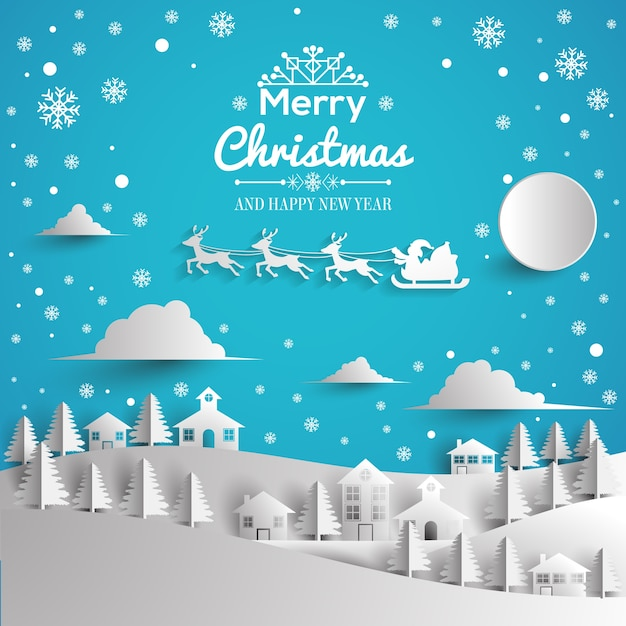 merry christmas and happy new year greeting card paper style premium vector