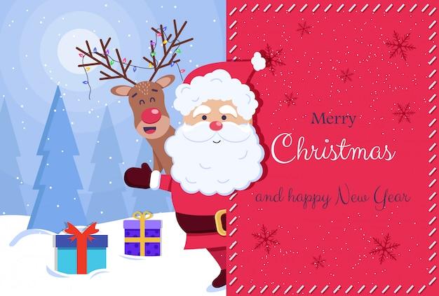 メリークリスマスと幸せな新年のグリーティングカード。サンタと鹿 Premiumベクター