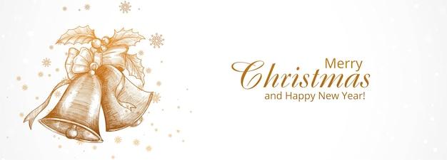 手描きのクリスマスの鐘のスケッチとメリークリスマスと新年あけましておめでとうございますグリーティングカード 無料ベクター