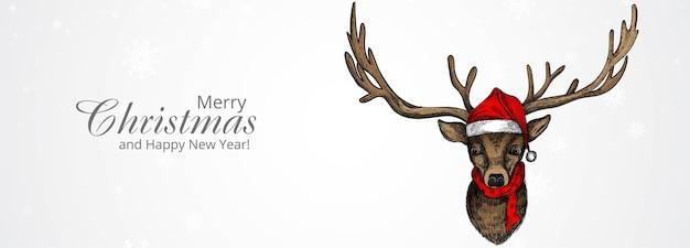 手描きのクリスマス鹿のスケッチとメリークリスマスと新年あけましておめでとうございますグリーティングカード 無料ベクター