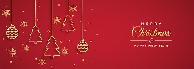 メリークリスマスと新年あけましておめでとうございますグリーティングカード Premiumベクター