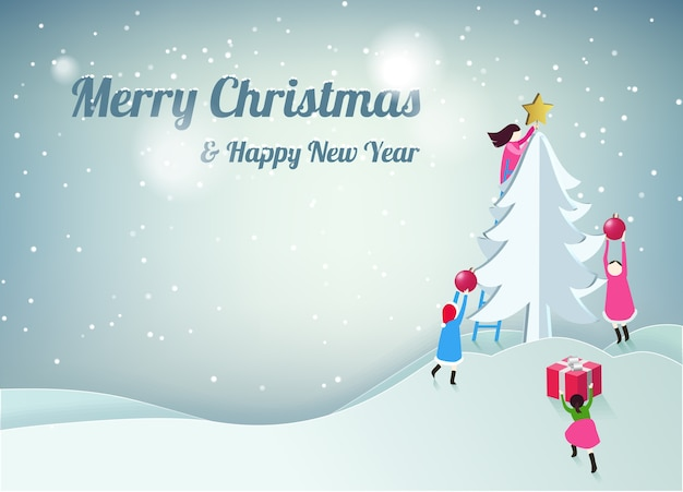 Merry Christmas and Happy New Year greeting card Vector | Premium ...