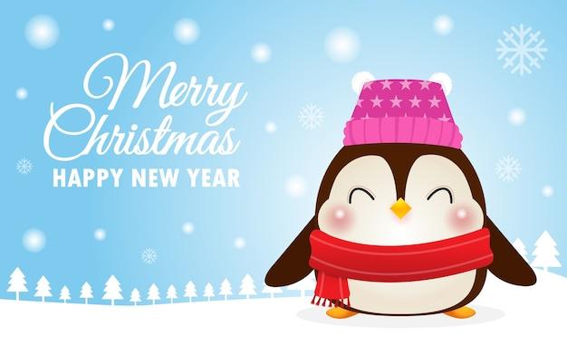 Поздравление с новым годом и рождеством счастливого пингвина Premium векторы