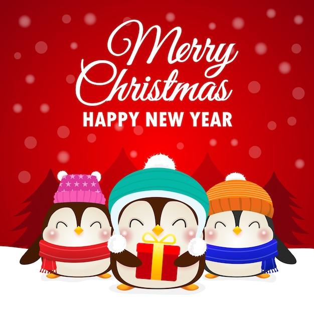 Поздравления с новым годом и рождеством счастливых пингвинов Premium векторы