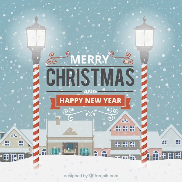 Merry Christmas and Happy New Year Greetings Vector | Free Download