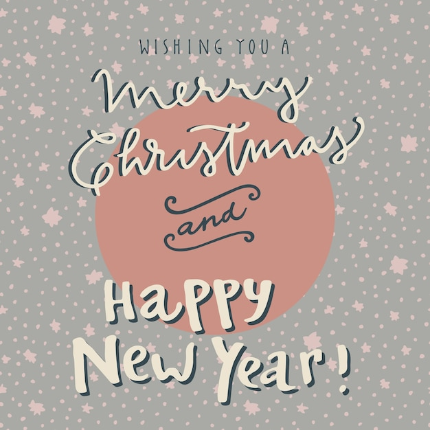 Merry Christmas and Happy New Year hand drawn greeting cards