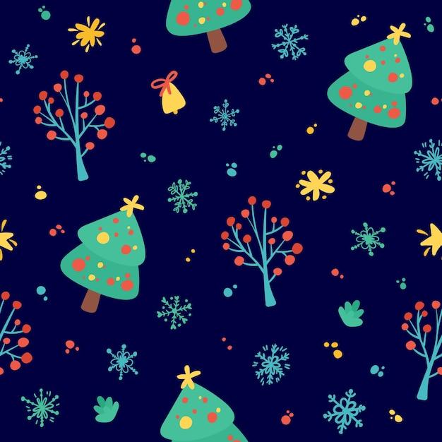 Веселого рождества и счастливого нового года. праздник бесшовный фон с елками, снежинками, звездами Бесплатные векторы
