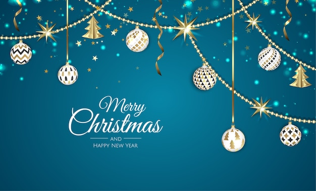 メリークリスマスと新年あけましておめでとうございますの白いバナーイラスト。 Premiumベクター
