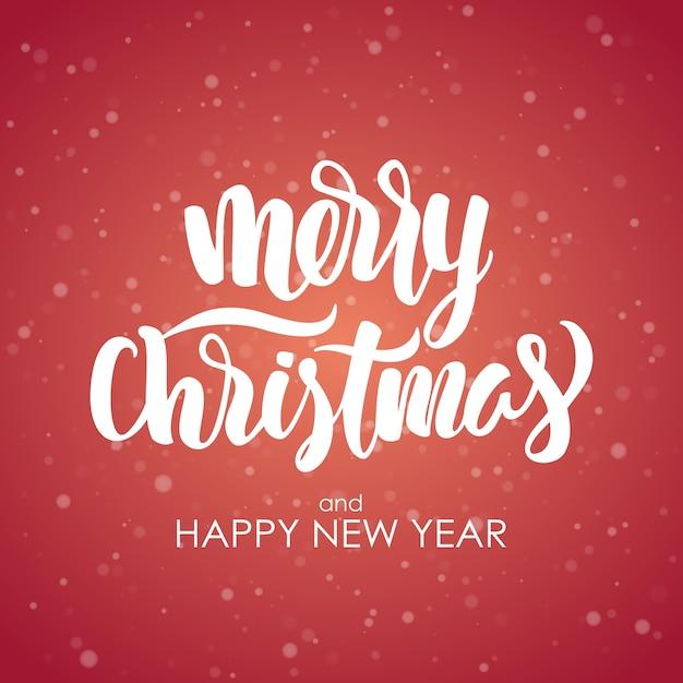 즐거운 성탄절 보내시고 새해 복 많이 받으세요. 눈송이 배경에 현대 브러시 글자입니다. 프리미엄 벡터