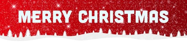 雪景色と赤い背景にメリークリスマスと新年あけましておめでとうございます。 Premiumベクター