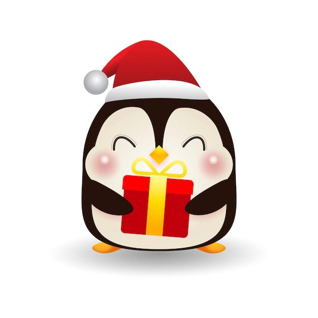 Плакат с рождеством и новым годом милый счастливый пингвин в рождественских шапках с подарком Premium векторы