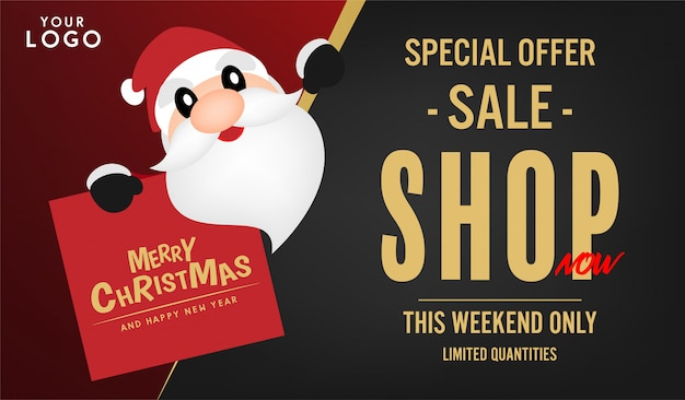 merry christmas and happy new year sale banner design premium vector