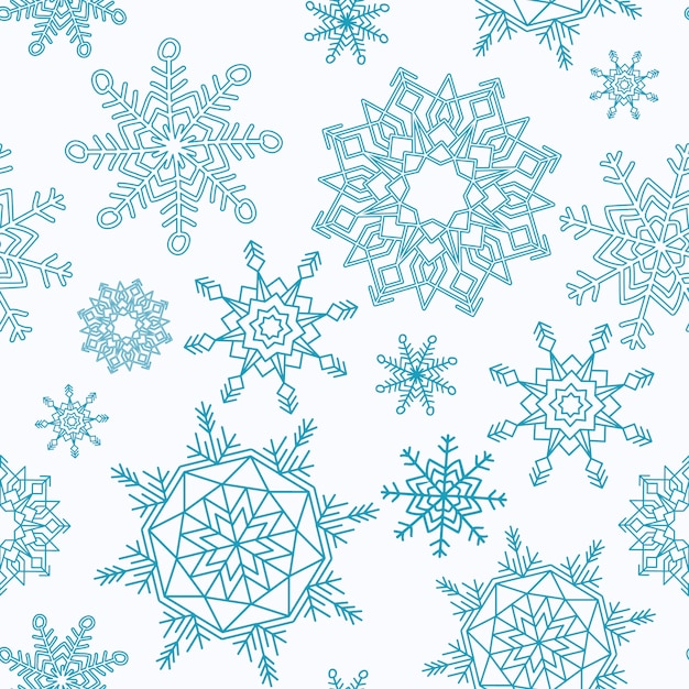 Merry Christmas and Happy New Year seamless pattern with snowflakes. Free Vector