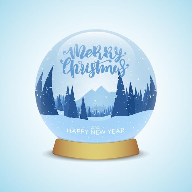밝은 파란색 배경에 고립 된 겨울 산 풍경 메리 크리스마스와 새 해 복 많이 받으세요 스노우 글로브 프리미엄 벡터