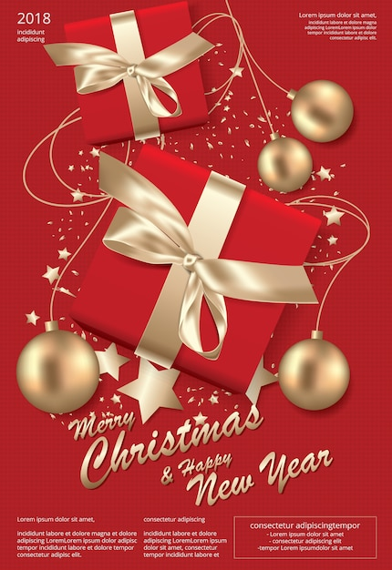 merry christmas and happy new year template background premium vector