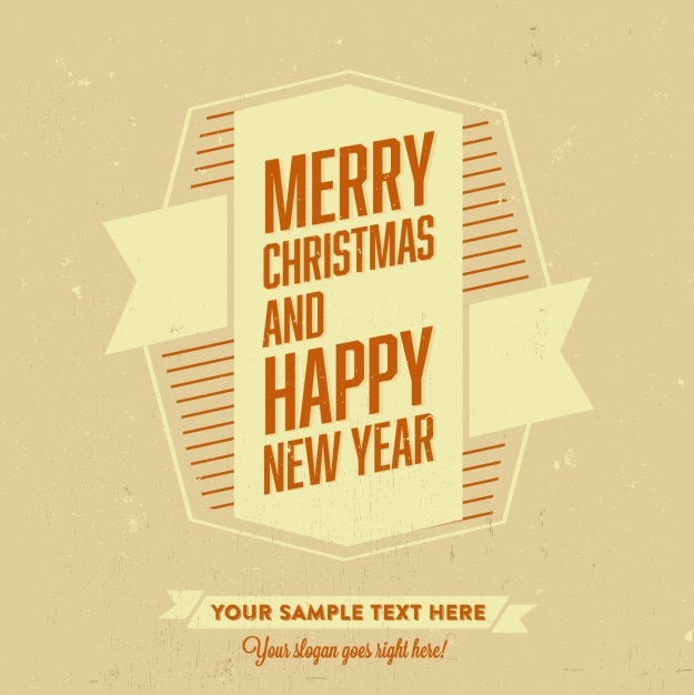 merry christmas and happy new year template free vector