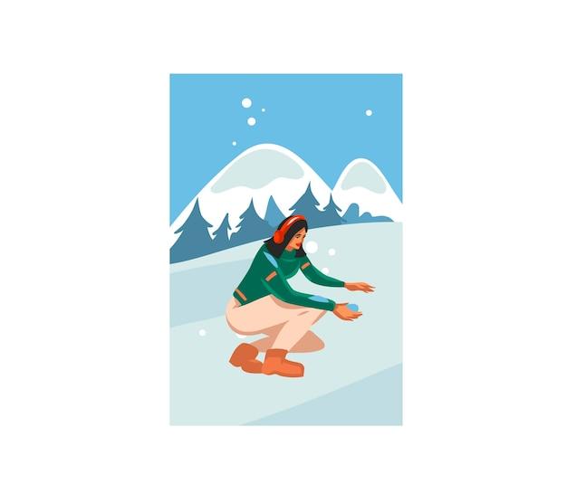 メリークリスマスと新年あけましておめでとうございます時間漫画イラスト Premiumベクター