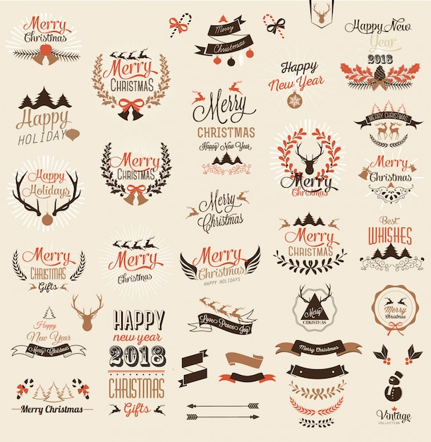 merry christmas and happy new year typography design and labels free vector