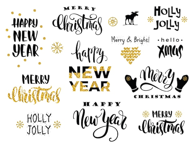 merry christmas and happy new year vector lettering calligraphy premium vector