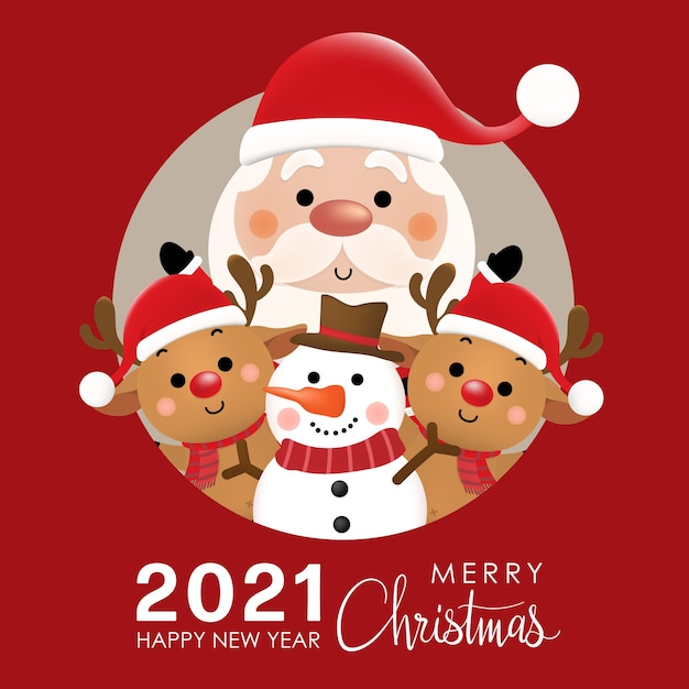 기쁜 성 탄과 귀여운 산타 클로스, 순록, 눈사람과 새 해 복 많이 받으세요. 프리미엄 벡터