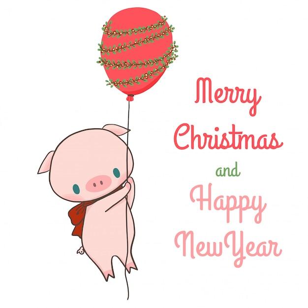 Веселого рождества и счастливого нового года с свиньями и воздушным шаром. Premium векторы