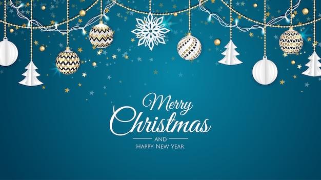 즐거운 성탄절 보내시고 새해 복 많이 받으세요. 포 인 세 티아, 눈송이, 스타와 공 크리스마스 배경. 인사말 카드, 휴일 배너, 웹 포스터 프리미엄 벡터