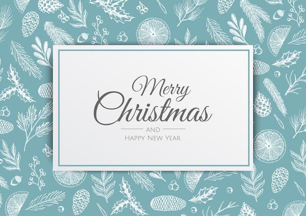 メリークリスマス、そしてハッピーニューイヤー。冬の植物とクリスマスの背景。グリーティングカード、ホリデーバナー、ウェブポスター Premiumベクター