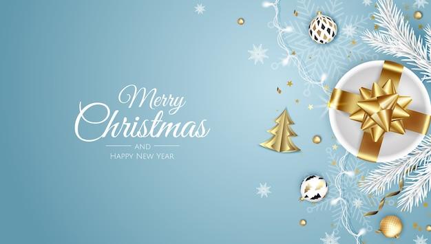 즐거운 성탄절 보내시고 새해 복 많이 받으세요. 크리스마스 트리, 눈송이, 스타와 공 크리스마스 배경. 인사말 카드, 휴일 배너, 웹 포스터 프리미엄 벡터