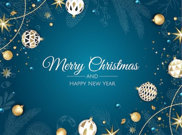 Веселого рождества и счастливого нового года. рождественский фон с елкой, снежинками, звездой и шарами. поздравительная открытка, праздничный баннер, веб-плакат Premium векторы