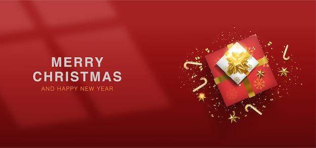 メリークリスマスと新年あけましておめでとうございますクリスマスの背景 Premiumベクター