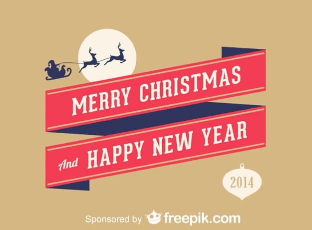 merry christmas and happy new year free vector
