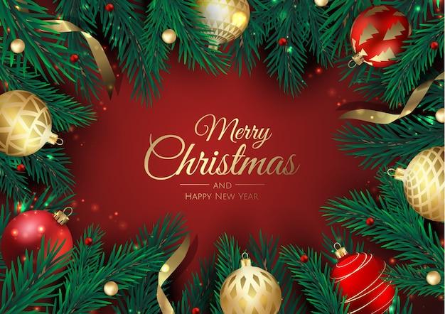 メリークリスマス、そしてハッピーニューイヤー Premiumベクター