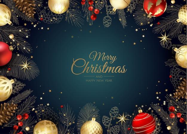 Веселого рождества и счастливого нового года Premium векторы