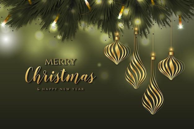 装飾用ボールとメリークリスマスと新年の背景 Premiumベクター