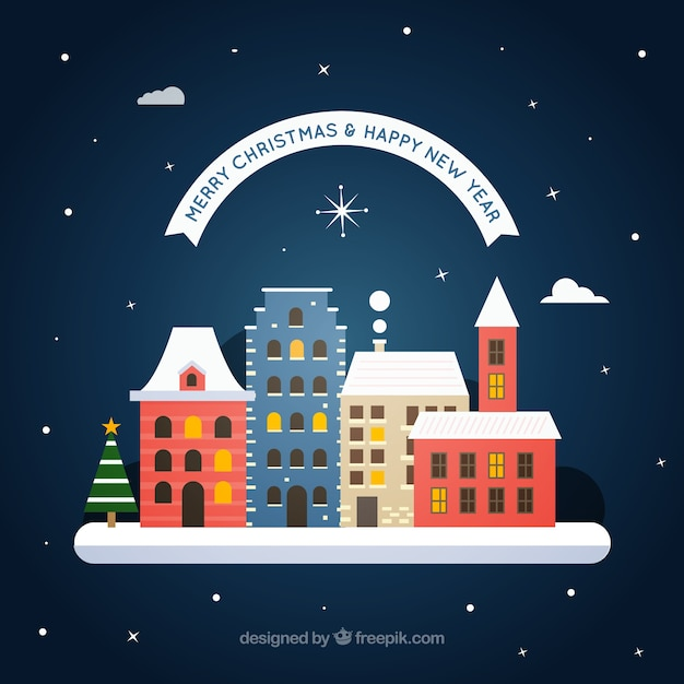 merry christmas and new year background with cute flat houses free vector