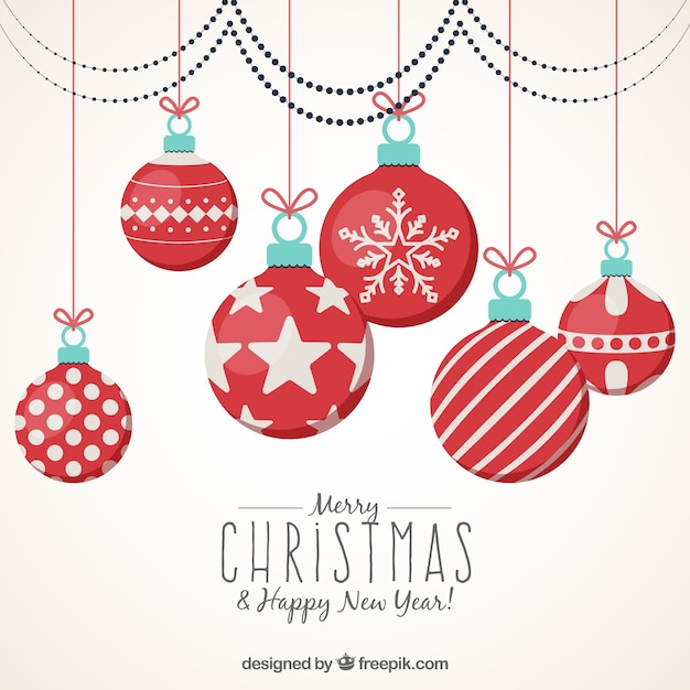 merry christmas and new year background with ornamental balls free vector