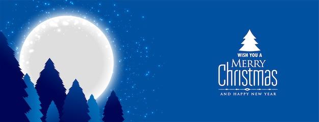 보름달 밤 풍경과 메리 크리스마스와 새 해 배너 무료 벡터