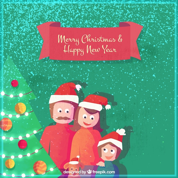 Merry christmas and new year card with nice family