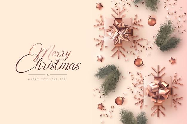 현실적인 장식으로 메리 크리스마스와 새 해 카드 무료 벡터